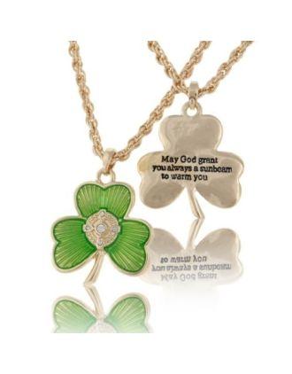 Shamrock Irish Blessing Necklace
