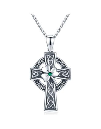 Shamrock Irish Cross Necklace