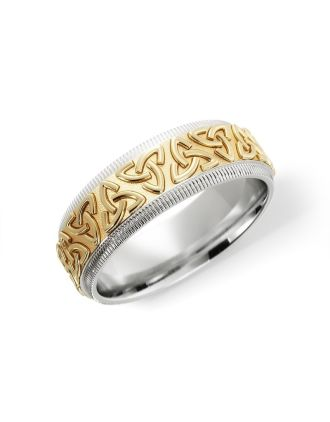 Silver & 10K Gold Embossed Trinity Knot Ring