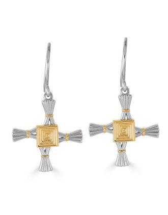 St. Brigid Cross Earrings Two Tone