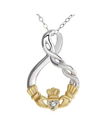 Sterling Silver & 10K Diamond Claddagh Pendant