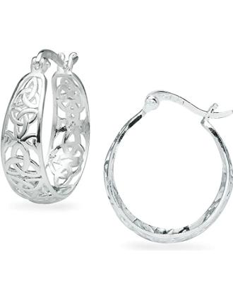 Trinity Knot Filigree Hoop Earrings | Celtic Knot Hoops