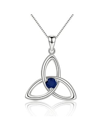 Sterling Silver Stone Set Trinity Knot Pendant