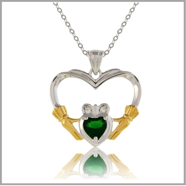 Emerald Claddagh Necklaces Emerald Claddagh Heart Necklace