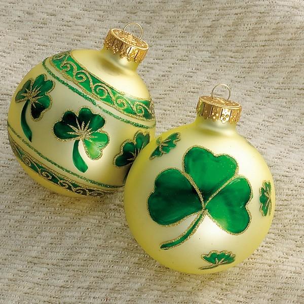 Irish christmas ornament box set shamrock